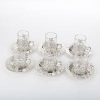 BG-4301/SL (6) Набор из 6-ти стаканов (100мл) с блюдцами (D=13см) в подар. упаковке, 41*25*7 см