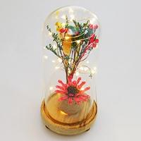 PP-00032 (36) Сухоцвет в стекле на деревянной подставке со светодиодами, D=11 см, H=23 см