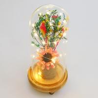 PP-00033 (36) Сухоцвет в стекле на деревянной подставке со светодиодами, D=11 см, H=23 см