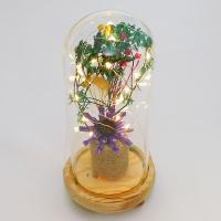 PP-00034 (36) Сухоцвет в стекле на деревянной подставке со светодиодами, D=11 см, H=23 см