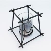 YW-00685 (24) Подсвечник из стекла и металла, 20.5*20.5*20см