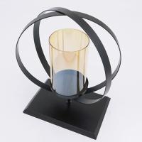 YW-00686 (24) Подсвечник из стекла и металла, 17*12*25см