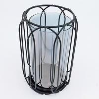 YW-00688 (24) Подсвечник из стекла и металла, 13*13*20см