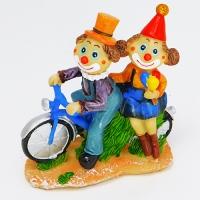 YW-00695 (96) Два клоуна на велосипеде, 13*6*15см