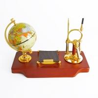 YW-00730 (6) Настольный набор на деревянной подставке из массива ореха, 30*15*20 см