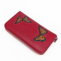 4704-B Кошелек женский, натур.. кожа, красный цвет, 19*10,5 см