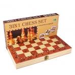 YW-00367 (144) Три игры в одном: шахматы/нарды/шашки, дерево  21*11см