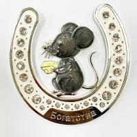 """HG-21634 (48) Подкова """"Мышка"""" с эмалью и стразами, подвесная 10*0,5*10см."""