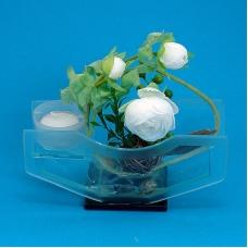 BL-03500 (16) 18,5*7*15см. Подсвечник-композиция со свечей и цветами