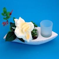 BL-13370 (6) 25*11*15см. Подсвечник на одну свечу с розой