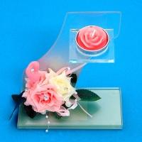 BL-15700 (18) 14*8*14см. Подсвечник-композиция на одну свечу с розами и сердцем