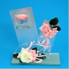 BL-16500 (12) 18*7.5*20см. Подсвечник-композиция на одну свечу с розами