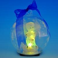 GM-321212 (24) 10*10*12см. Стеклянный шар с ангелом внутри, со светодиодной подставкой