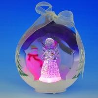 GM-321864 (24) 10*9*12см. Стеклянный шар с ангелом внутри, со светодиодной подсветкой