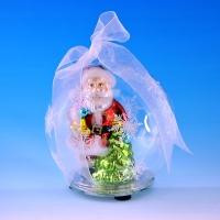 GM-323395 (24) 10,5*10,5*11см Стеклянный шар с Дедом Морозом и елкой внутри, со светодиод подсветкой