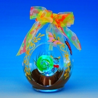 GM-332764 (24) 8,5*7,5*14см Стеклянный шар в виде капли с улиткой внутри, со светодиодной подсветкой