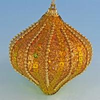 HT-03111 (48) 8*8*9см. Набор из 6-ти золотых новогодних украшений в виде капли