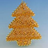 HT-08008 (48) 10*2.5*13см. Набор из 6 золотистых украшений