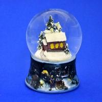 HY-12681 (16) Стеклянный шар с домиком в лесу, на фарфоровой подставке D=8см, H=11см