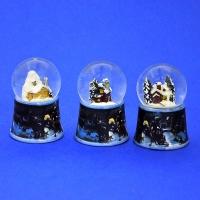 HY-12692 (8н.) Набор из 12 стеклян. шаров с домиком, на фарфор. подставке, 4вида D=4,5см, H=7см