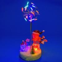 K9810003 (12) Новогодняя композиция пара снеговиков со светодиодами 13*11*22см