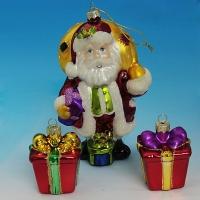 """LH-1109 (12) Набор из 3-х елочных украшений """"Дед Мороз 9*6*15см с двумя подарками 4,5*4,5*6см&q"""