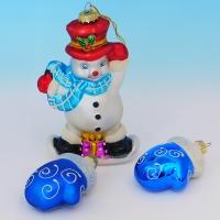 """LH-1111 (12) Набор из елочных украшений """"Снеговик 9*5*15см  с двумя рукавичками 5*6*7см """","""