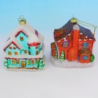 """LH-1113 (24) Набор из 2-х елочных украшений """"Новогодний домик"""",  9*8*9см в подарочной упак"""