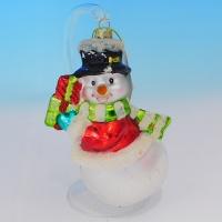 """LH-1115 (24) Елочное украшение """"Снеговик с подарком"""", 9*6*14см."""