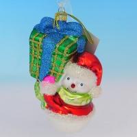 """LH-1120 (36) Елочное украшение """"Снеговик с большим подарком"""", 9*6*12см."""