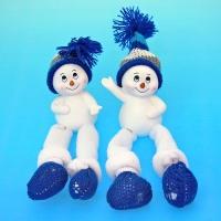 LR-0980 (24наб.) 7*4,5*5,7см. Набор из 6-ти снеговиков в шапке, из полистоуна, 2 вида