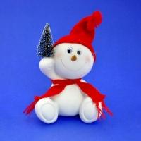 LR-1418 (16) 14*10*20см. Снеговик в шапке и шарфе с елкой, из полистоуна