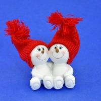 LR-1423 (9наб.) 6*4*7см. Набор из 4-х пар снеговиков в шапке, из полистоуна, 1 вид