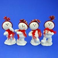 LR-1463 (9наб.) 6.5*7*15см. Набор из 4-х снеговиков в шапке и шарфе, из полистоуна, 4 вида