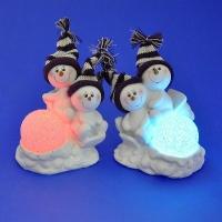 LR-1474 (36)12*9*13см Набор из 4-х пар снеговиков со светодиодами в виде шара, из полистоуна, 2 вида