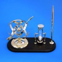 MC-11411 (12) Настольный набор: сфера, песочные часы, ручка 24*10,5*15,5см