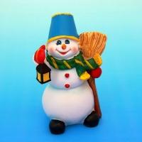 MY-15048 (48) 8,5*6*12,5см. Снеговик с метлой, полистоун