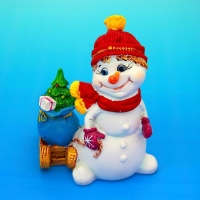 MY-15055 (48) 10*6,5*11,5cм. Снеговик с мешком подарков, полистоун