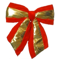 PB-4 Бант большой красный плюш с золотом 36*5*40см