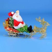 ST-1550 (12) 40*10*28см. Олень с Дедом Морозом