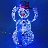ST-2560 (2) Снеговик белый, снимающий шляпу, голубая подсветка 45*26*78