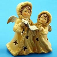 ST-46(36) Подсвечник два ангела с нотами 12*6*14см