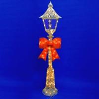 ST-5010 (1) 35*35*150см. Новогодний серебрянный фонарь с бантом