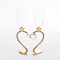 ST-7943/PG (10) 26см, 250мл Свадебные бокалы с подвеской в виде сердца