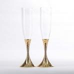 ST-7944/PG (12) 27.4см, 250мл Свадебные бокалы со стразами, цвет золотой