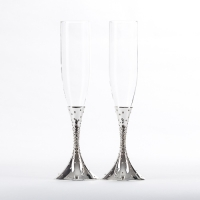 ST-7944/SL (12) 27.4см, 250мл Свадебные бокалы со стразами, цвет серебряный
