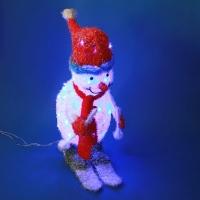 ST-8501 (1) Снеговик на лыжах с двигающимися палками, голубая подсветка 23*40*78