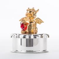 ST-DRAGON2-JB2 (48) 5.5*5.5*6см Посеребренная шкатулка с позолоченным драконом и красным сердцем