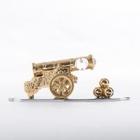 ST-TC4/GC  (48) 14.5*6*5,5см. Царь пушка на подставке с 3 прозрачными хрусталиками,позолоченная