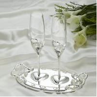 ST-WEDDING1/SL (8) 27см, 250мл Свадебные бокалы на подносе, серебро, 30*17*3см.